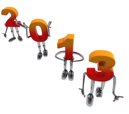 diagonally: red orange 2013 numbers as fancy figures standing diagonally Stock Photo