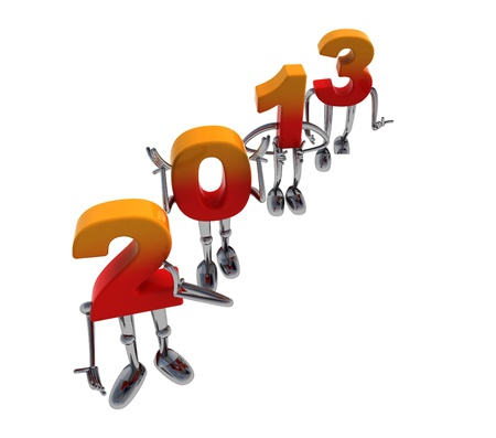 red orange 2013 numbers as fancy figures standing diagonal Stock Photo - 16818489