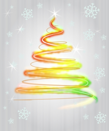 shiny red yellow green christmas tree flare concept in snowfall  photo