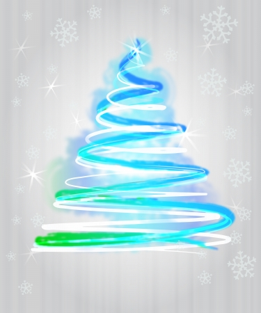 light blue christmas tree flare concept in glittering snowfall  photo