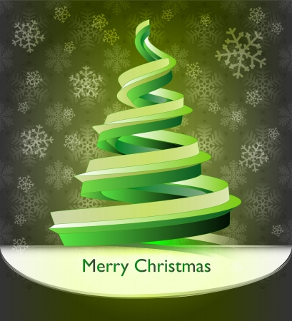 christmas gold green tree design on snow pattern card Stock Photo - 16818588