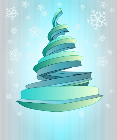 alighted: blue alighted christmas tree design in snowfall  Stock Photo