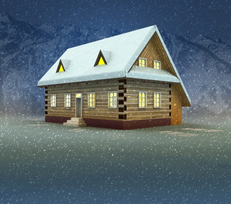 alighted: Mountain cottage and window shiny light at night snowfall illustration