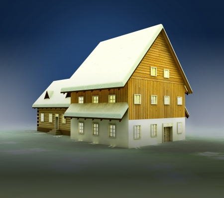 alighted: Idyllic hut and window lighting at night illustration
