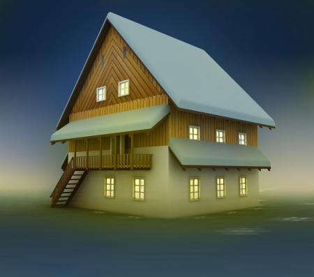 timbered: Old hut and window lighting at night illustration Stock Photo