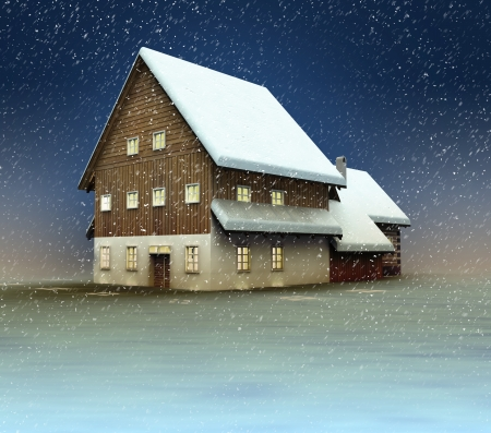 Classical cottage window lighting at night snowfall illustration illustration