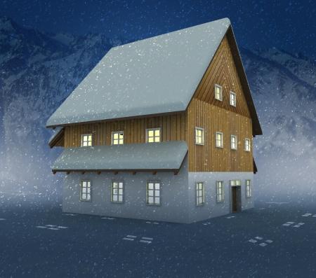 alighted: Idyllic cottage window lighting at night snowfall illustration