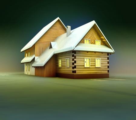 alighted: Seasonal mountain cottage window lighting at night illustration