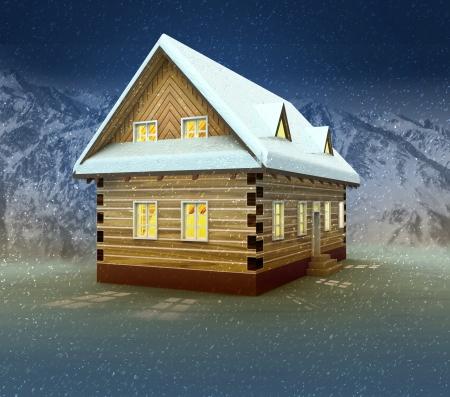alighted: Idyllic cottage and window lighting at night snowfall illustration