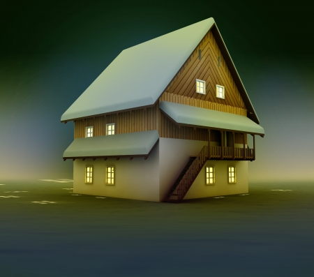 Seasonal cottage window lighting at night illustration Stock Photo