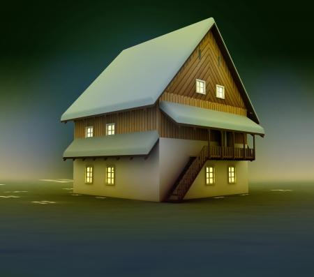 Seasonal cottage window lighting at night illustration Stock Illustration - 17120987