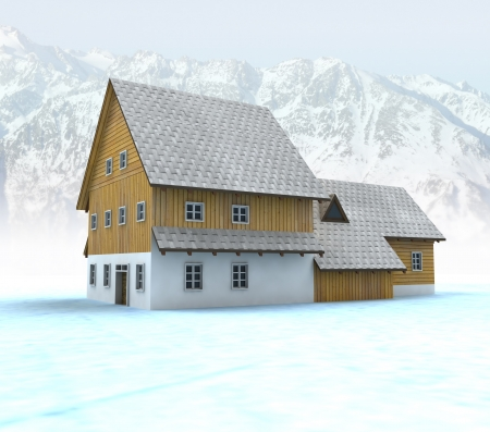 timbered: Idyllic mountain cabin with blue sky illustration