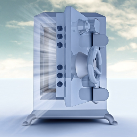 heavy reinforced blue metallic opened bank vault render illustration illustration