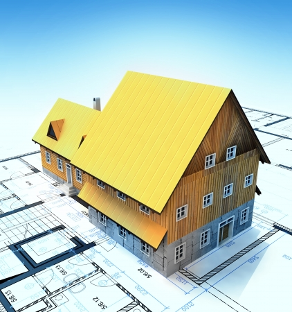 homestead: Homestead building with layout plan and blue clear sky illustration Stock Photo