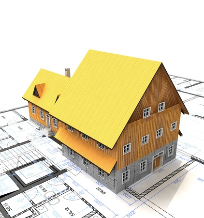 homestead: Top view homestead building with layout plan illustration Stock Photo