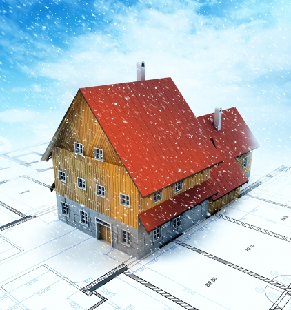 homestead: Top view homestead building with layout plan at snowfall illustration