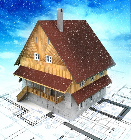 frontage: Mountain building house with layout plan at cloudys snowfall illustration Stock Photo
