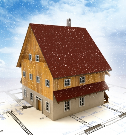 timbered: Real estate new building house with layout plan at snowfall illustration Stock Photo