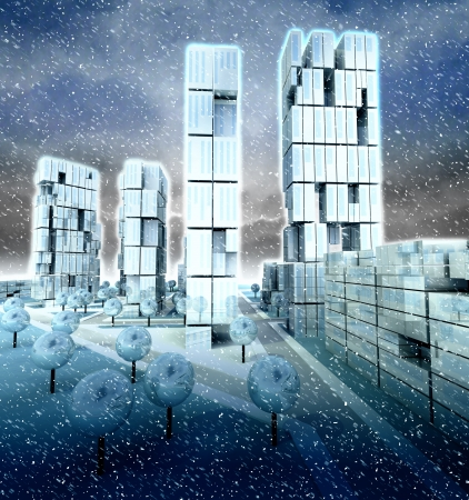 Skyscraper super city at winter cold snowfall illustration illustration