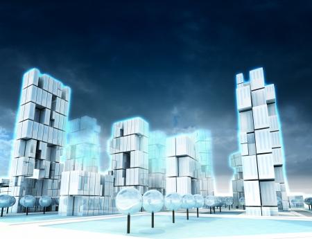 Icy skyscraper city at winter cloudy night light illustration Stock Illustration - 17120990