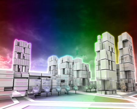 Futuristic skyscraper city rainbow vertically colored illustration Stock Illustration - 17121020