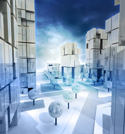 alighted: Modern blue alighted city streets with cloudy sky illustration Stock Photo
