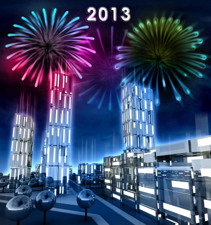 alighted: Modern city with alighted windows celebrate year 2013 illustration Stock Photo