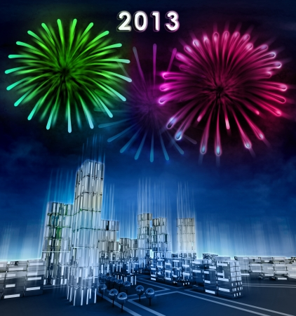 Futuristic business city and 2013 new year celebration illustration illustration