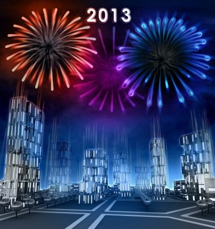 Midnight firework new year celebration over skyscraper city illustration illustration