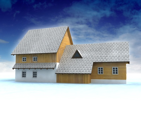 accomodation: Old mountain cottage with blue sky illustration