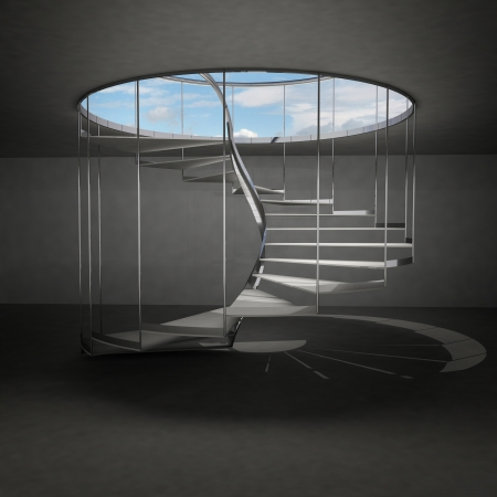 above clouds: indoor spiral staircase leading to sky above clouds illustration