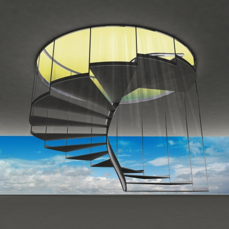 spiral staircase with yellow flare and blue sky view illustration