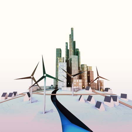 isolated modern cityscape with windmills and river illustration illustration