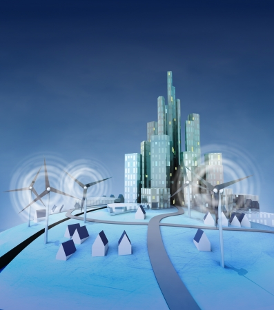 ecological city powered with windmills general view illustration