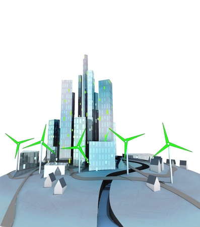 generate: green windmills generate electricity for ecological city illustration