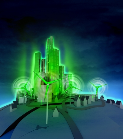 rotating windmills powered modern city at night illustration illustration