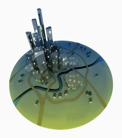 futurictic: Isolated futurictic development island city with lighted windows illustration Stock Photo