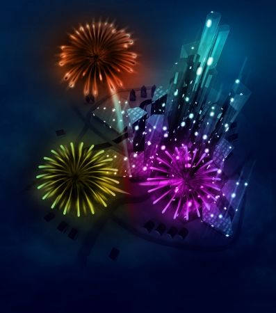 colorful firework celebration above modern city illustration illustration