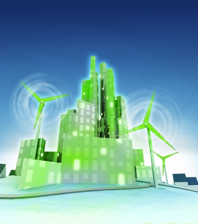 rotating windmills powered our green ecological cities illustration illustration