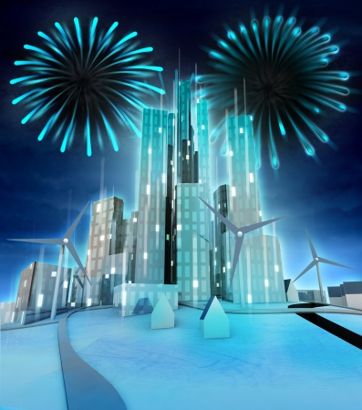 firework above modern windmill powered city illustration illustration