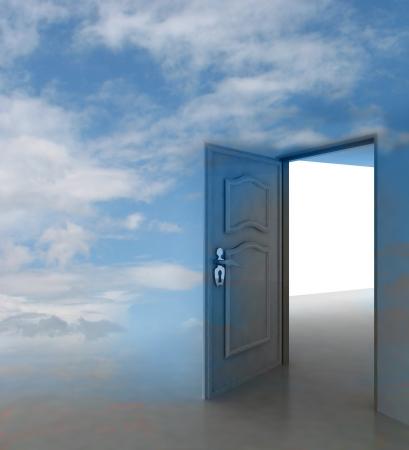 cloudy sky doorway passage leading to paradise illustration Stock Illustration - 17351499