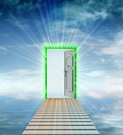 leading: opened door leading to another dimension illustration