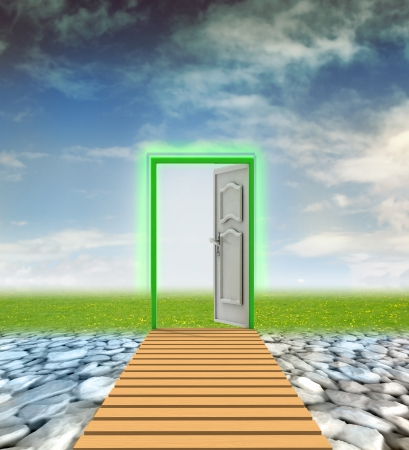 wasteland: door passage to nature from wasteland illustration