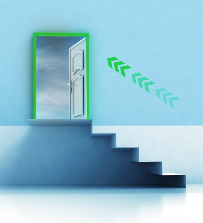 staircase passage with direction arrow and door illustration illustration