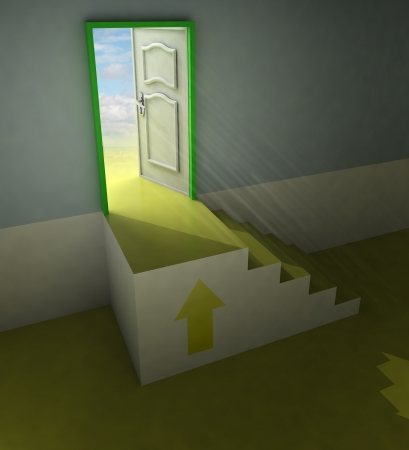 yellow staircase doorway passage with arrow and flare illustration illustration