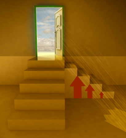 orange dark two staircases doorway with red arrows illustration illustration