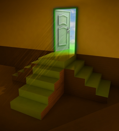 orange dark three staircases doorway illustration illustration
