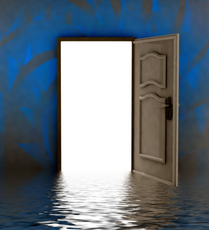 opened door i water with blue painted wall illustration Stock Illustration - 17351522