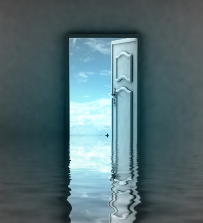 last opened door as way to another bank illustration Stock Illustration - 17351508