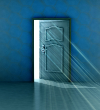 god salvation behind blue wall and opened door illustration Stock Illustration - 17351517